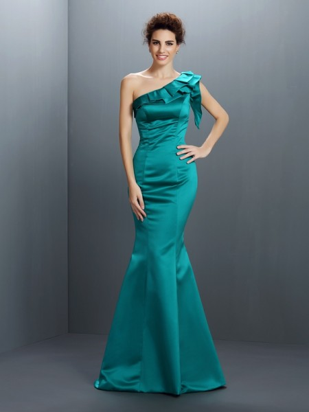 Trumpet/Mermaid One-Shoulder Long Satin Dress