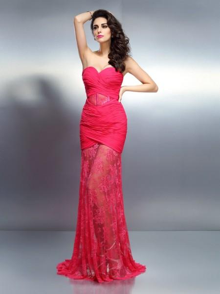 Trumpet/Mermaid Sweetheart Pleats Dress with Long Chiffon