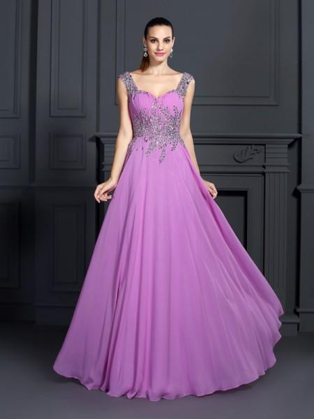 A-Line/Princess Straps Beading Dress with Long Chiffon