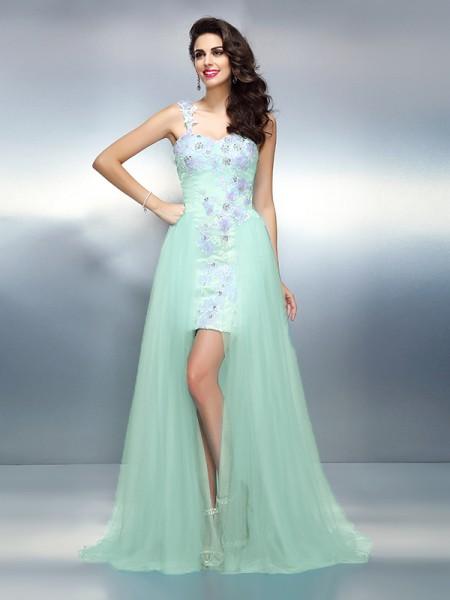 Sheath/Column One-Shoulder Applique Long Elastic Woven Satin Dress