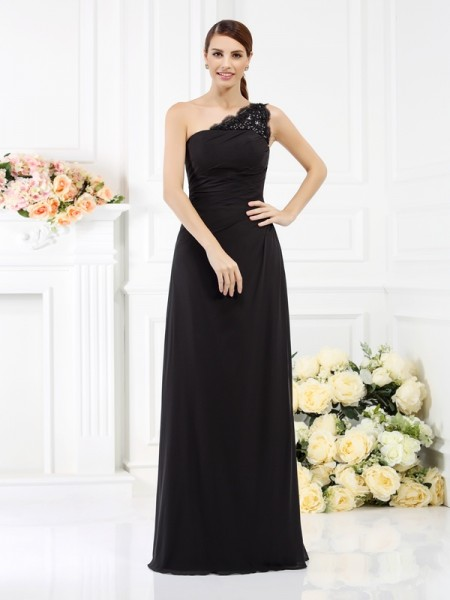 Sheath/Column One-Shoulder Long Satin Bridesmaid Dress