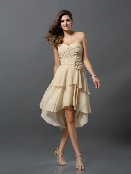 A-Line/Princess Sweetheart High Low Chiffon Bridesmaid Dress