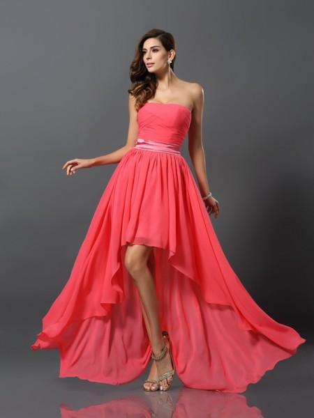 A-Line/Princess Sweetheart High Low Chiffon Bridesmaid Dress