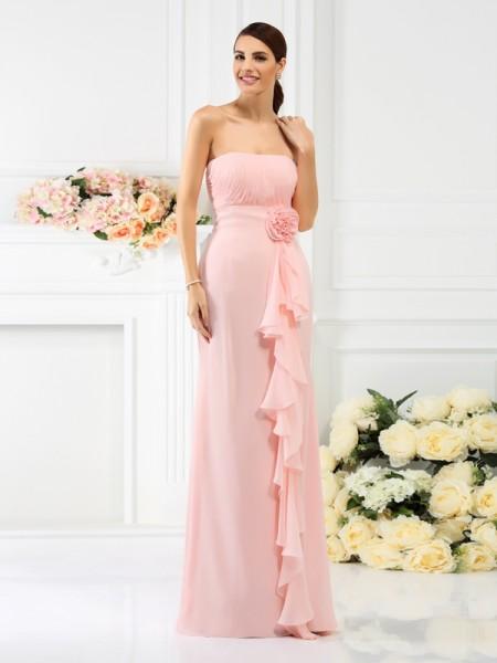 Sheath/Column Strapless Bridesmaid Dress with Long Chiffon