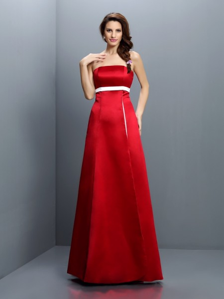 A-Line/Princess Strapless Sash/Ribbon/Belt Long Satin Bridesmaid Dress