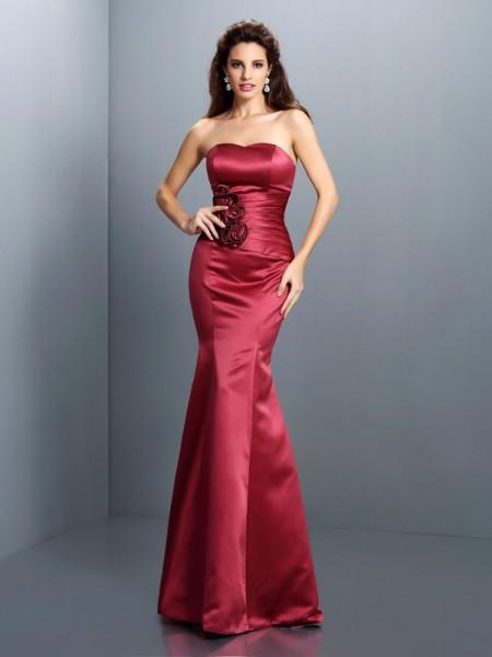 Trumpet/Mermaid Strapless Long Satin Dress
