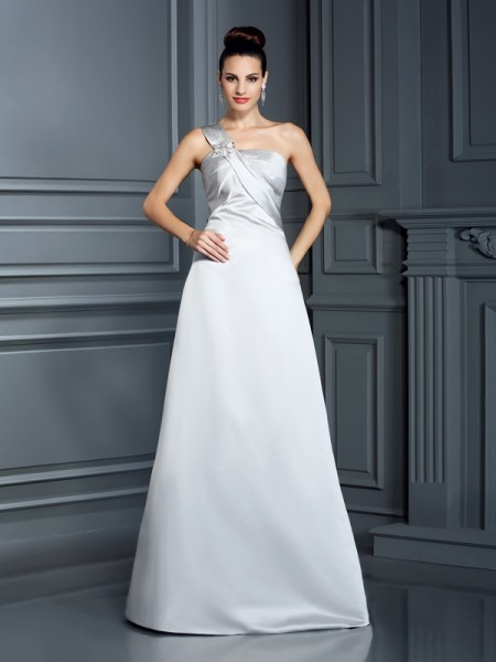 A-Line/Princess One-Shoulder Long Satin Dress