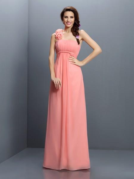 A-Line/Princess Strapless Bridesmaid Dress with Long Chiffon
