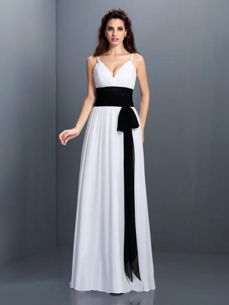 A-Line/Princess V-neck Sash/Ribbon/Belt Bridesmaid Dress with Long Chiffon