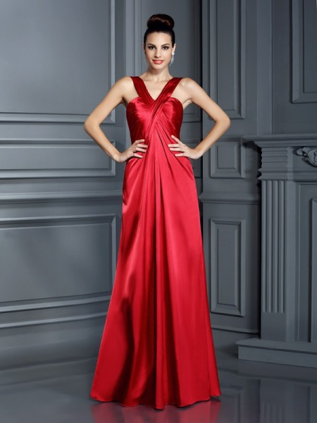 A-Line/Princess Straps Long Elastic Woven Satin Bridesmaid Dress