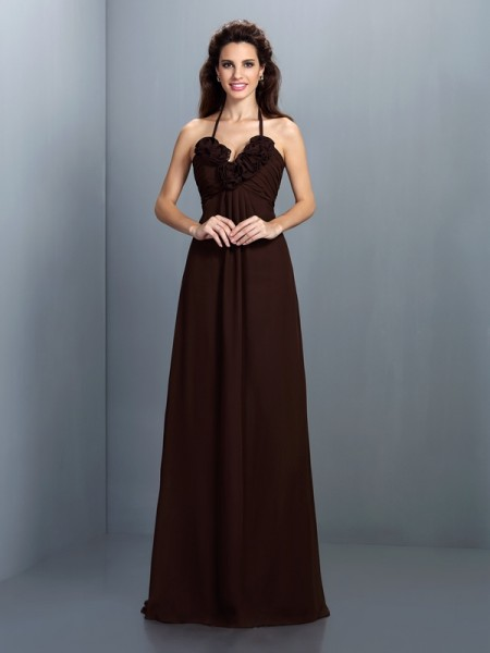 A-Line/Princess Halter Bridesmaid Dress with Long Chiffon