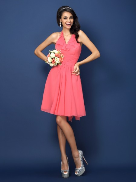 A-Line/Princess Halter Pleats Bowknot Short Chiffon Bridesmaid Dress