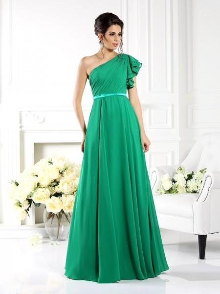 A-Line/Princess One-Shoulder Ruffles Bridesmaid Dress with Long Chiffon