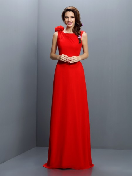 A-Line/Princess Bateau Bridesmaid Dress with Long Chiffon