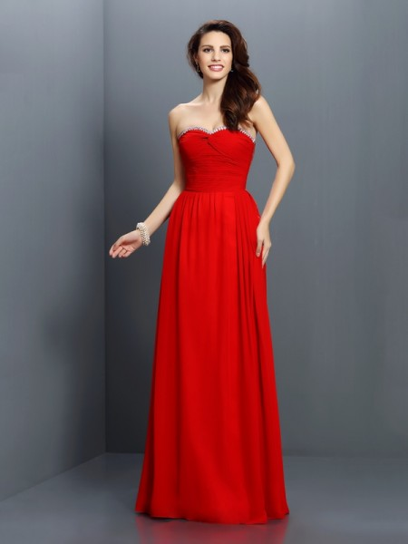 A-Line/Princess Sweetheart Beading Bridesmaid Dress with Long Chiffon