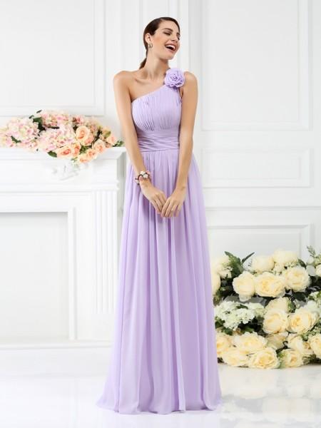 A-Line/Princess One-Shoulder Pleats Bridesmaid Dress with Long Chiffon