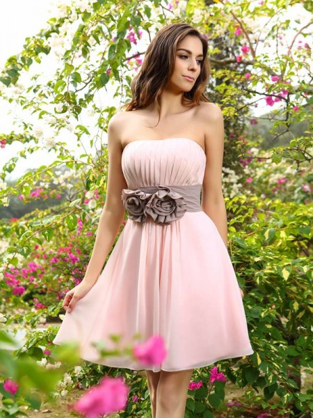 A-Line/Princess Sweetheart Pleats Sash/Ribbon/Belt Short Chiffon Bridesmaid Dress