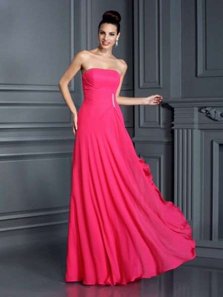 A-Line/Princess Strapless Beading Bridesmaid Dress with Long Chiffon