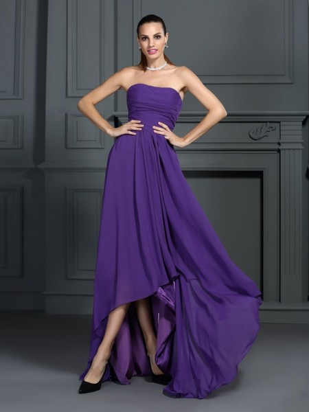 A-Line/Princess Strapless Pleats High Low Chiffon Cocktail Dress