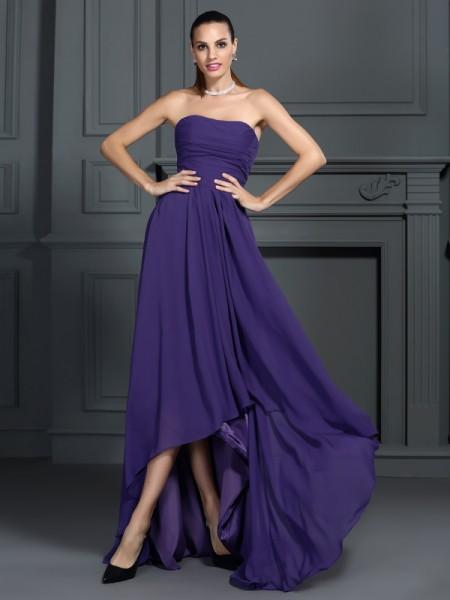 A-Line/Princess Strapless Pleats High Low Chiffon Cocktail Dress
