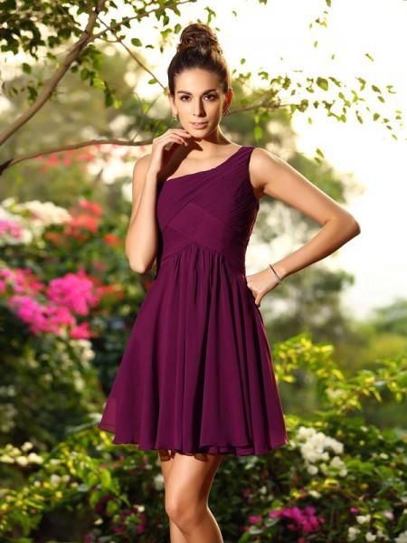 A-Line/Princess One-Shoulder Pleats Short Chiffon Bridesmaid Dress