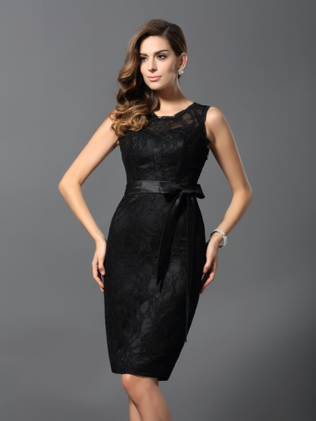 Sheath/Column Jewel Lace Short Satin Cocktail Dress
