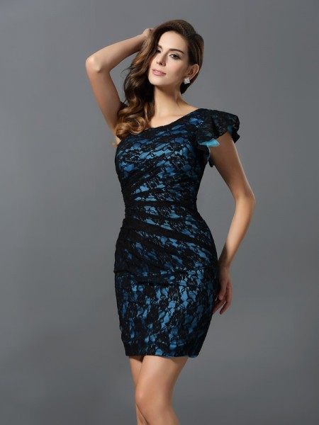 Sheath/Column One-Shoulder Lace Short Elastic Woven Satin Bridesmaid Dress