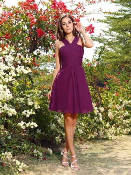 A-Line/Princess Straps Pleats Short Chiffon Bridesmaid Dress