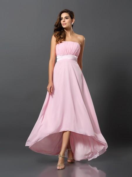 A-Line/Princess Strapless High Low Chiffon Bridesmaid Dress