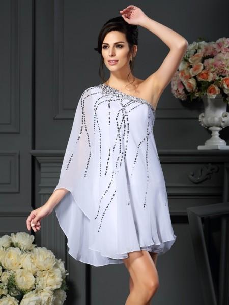A-Line/Princess One-Shoulder Sequin Short Chiffon Mother of the Bride Dress