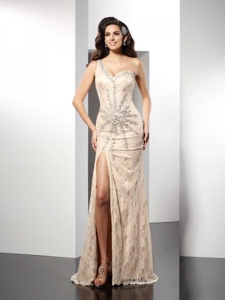 Sheath/Column One-Shoulder Long Elastic Woven Satin Dress