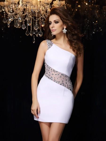 Sheath/Column One-Shoulder Beading Short Chiffon Cocktail Dress
