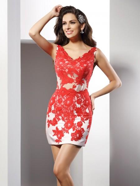 Sheath/Column V-neck Applique Short Satin Cocktail Dress