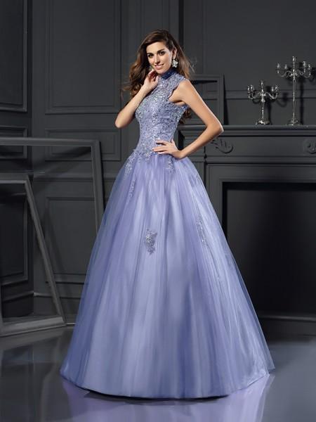 Ball Gown High Neck Beading Long Net Quinceanera Dress