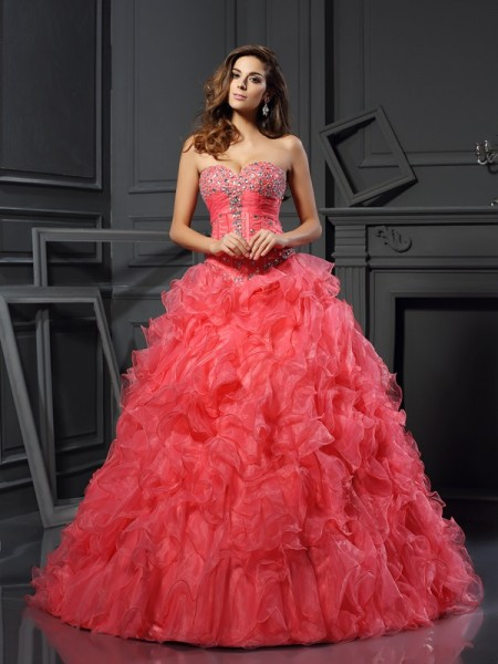 Ball Gown Sweetheart Ruffles Long Organza Quinceanera Dress