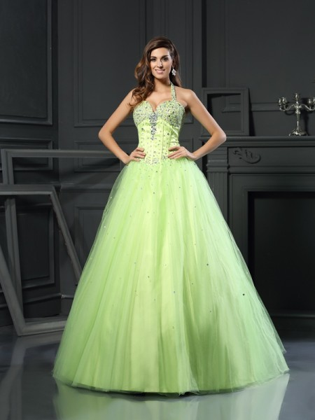 Ball Gown Halter Beading Long Satin Quinceanera Dress