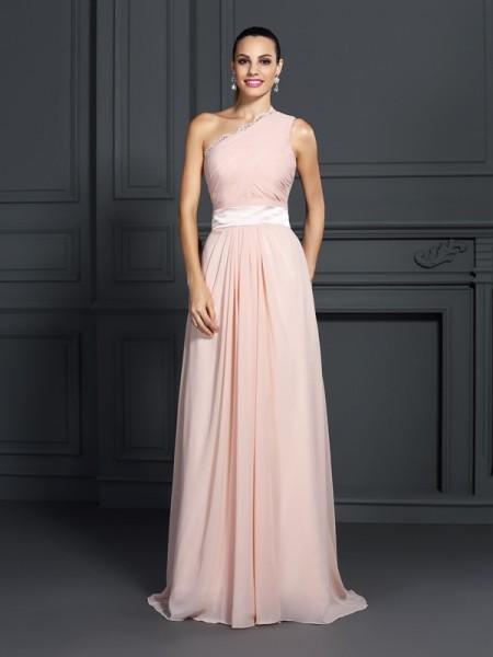 A-Line/Princess One-Shoulder Ruffles Dress with Long Chiffon