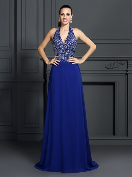 A-Line/Princess Halter Applique Dress with Long Chiffon