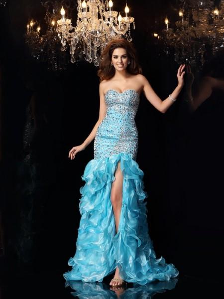 Trumpet/Mermaid Sweetheart Beading High Low Organza Dress
