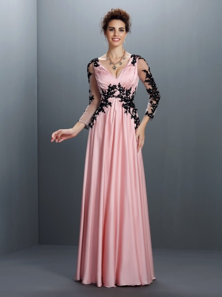 A-Line/Princess V-neck Applique Dress with Long Chiffon