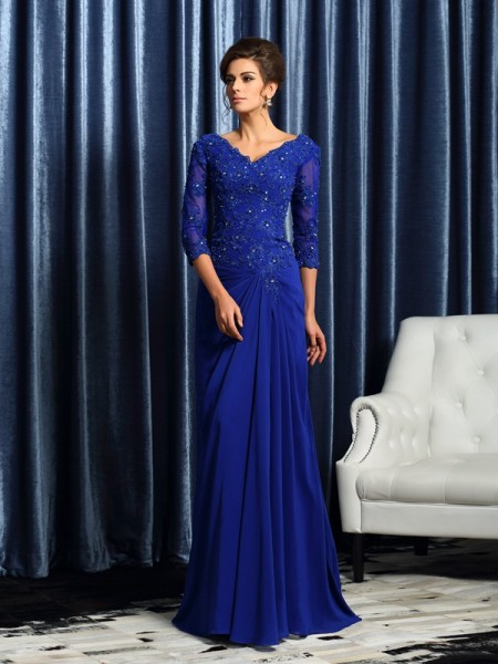 A-Line/Princess V-neck Applique Mother of the Bride Dress with Long Chiffon