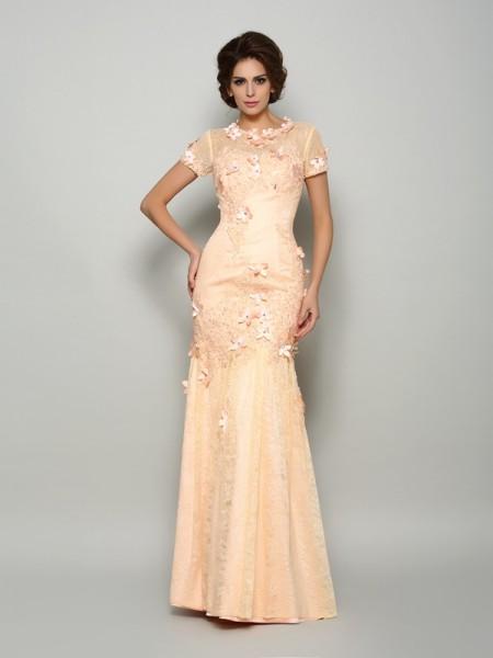 Trumpet/Mermaid Scoop Applique Short Sleeves Long Satin Mother of the Bride Dress
