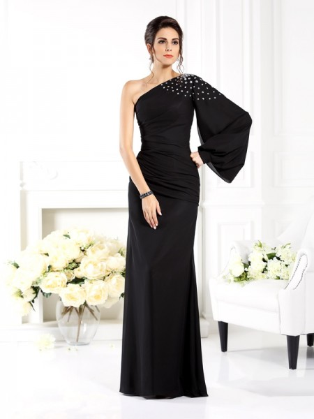 Sheath/Column One-Shoulder Beading Long Sleeves Mother of the Bride Dress with Long Chiffon