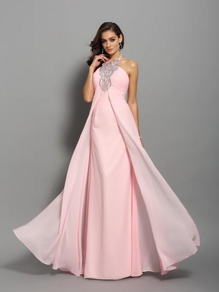 Sheath/Column High Neck Beading Dress with Long Chiffon