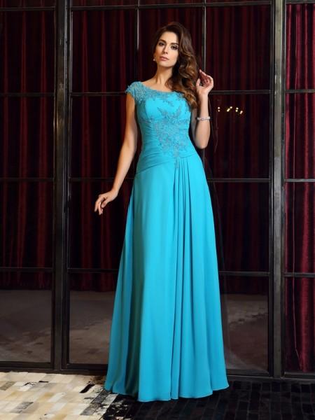 A-Line/Princess Scoop Applique Dress with Long Chiffon