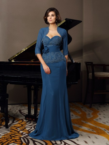 Trumpet/Mermaid Sweetheart Applique Mother of the Bride Dress with Long Chiffon