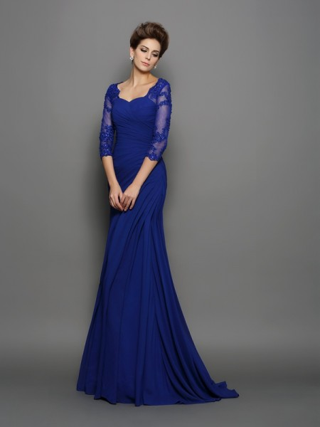 Trumpet/Mermaid Sweetheart Ruched Mother of the Bride Dress with Long Chiffon