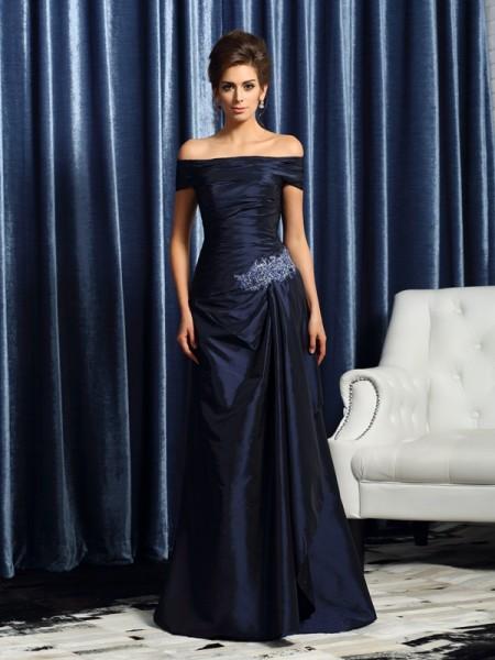Trumpet/Mermaid Short Sleeves Long Taffeta Mother of the Bride Dress