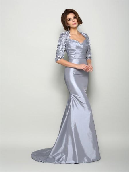 Trumpet/Mermaid Sweetheart Applique 1/2 Sleeves Long Taffeta Mother of the Bride Dress
