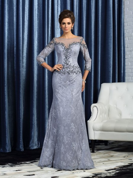 Trumpet/Mermaid Bateau Beading Long Lace Mother of the Bride Dress
